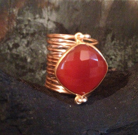 Red Onyx Cushion Wire Wrap Overlay Ring