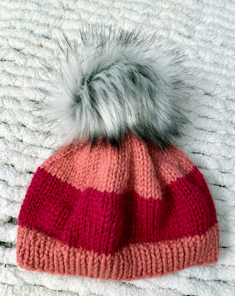 Red and Coral Baby Alpaca Beanie with Pom-Pom