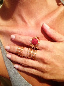 Red Ruby Quartz Wire Wrap Overlay Ring