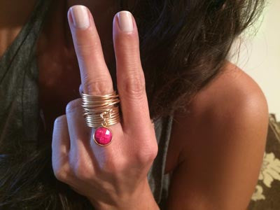 Round Ruby Dangle Knotted Wire Wrap Ring