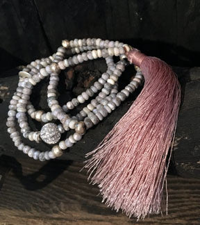Silverite Long Necklace with Long Light Pink Tassel & Pave CZ Component