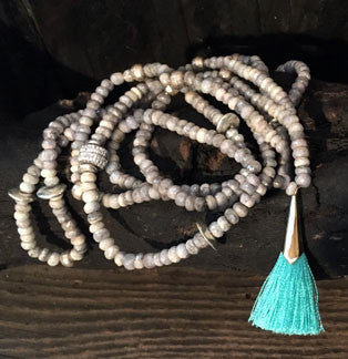 Silverite Long Necklace with Turquoise Tassel and Pave CZ Components