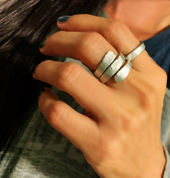Silver Hammered Wrap Ring