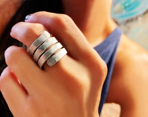 Silver Hammered Flat Wrap Ring
