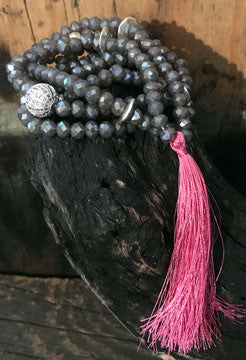 Smokey Grey Crystal Long Necklace with Silver Components and Hot Pink Tassel