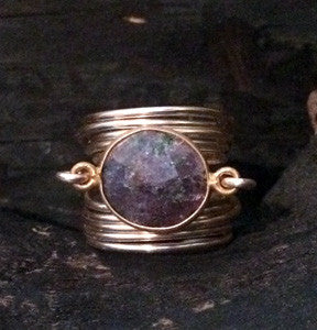 Dyed Emerald Wire Wrap Ring