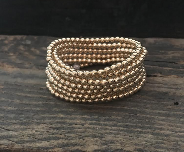4MM Gold Filled Ball Bracelet on Stretch Cord