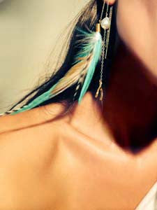 Teal Feather Chain Earrings *OUT OF STOCK*