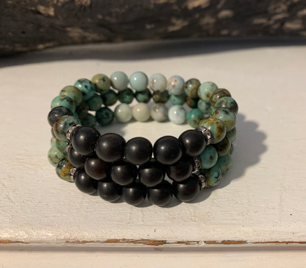 Tiger Ebony and Peruvian Turquoise Bracelets on Stretch Cord