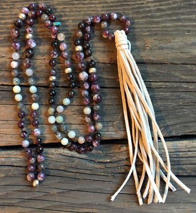 Tourmaline and Amazonite  Hand-Knotted Necklace with Long White Suede Tassel