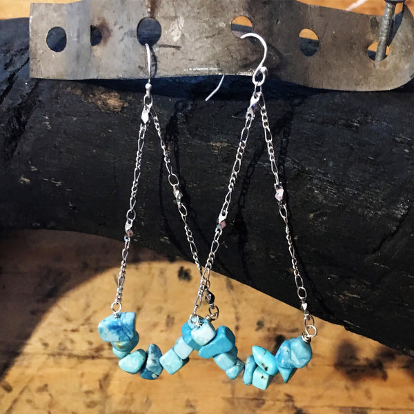 Turquoise and Amethyst Nugget Silver Swing Earrings
