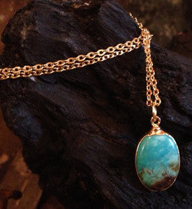 Turquoise Drop on 24K Gold Overlay Chain
