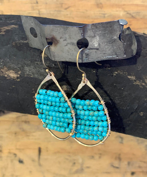 Turquoise Fill Hammered GF Earrings
