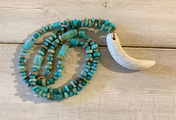 Turquoise Necklace with Tusk