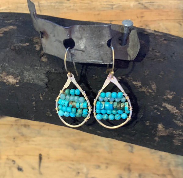 Mixed Turquoise Hammered Gold Filled Earrings
