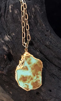 Turquoise Green Pendant on Gold Overlay Chain