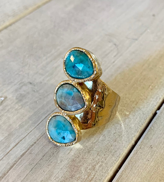 Turquoise Triple Stone Adjustable Gold Overlay Ring