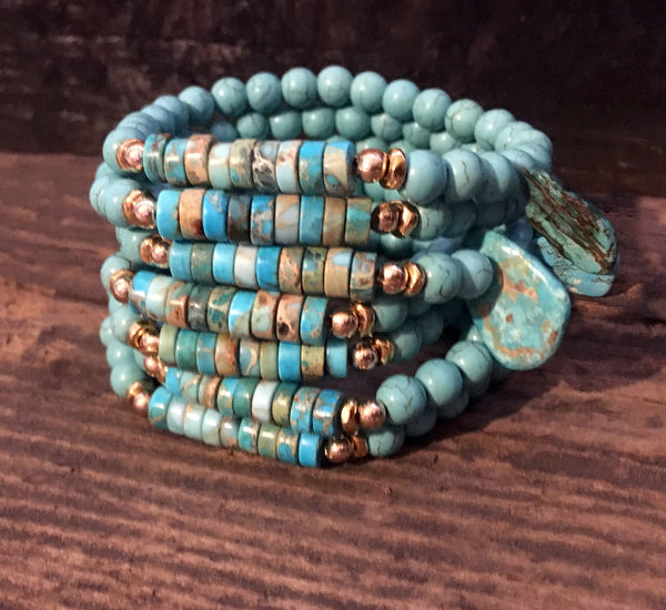 Turquoise Bracelets on Stretch Cord with Sliced Turquoise