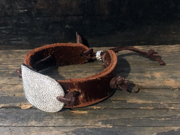 Vintage Leather Cuffs with Pave CZ Curved Bar