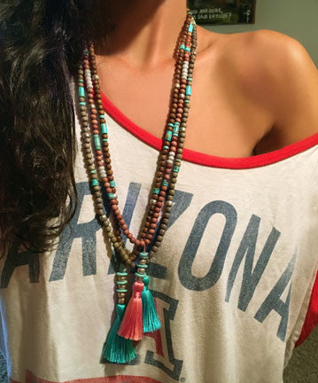 Rosewood Beads with Turquoise and White Silverite with Peach Tassel