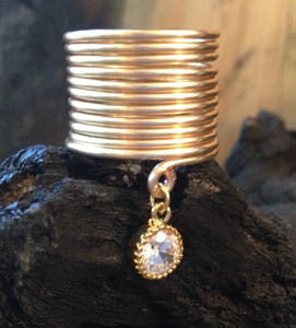 Wire Wrap Ring with CZ Dangle