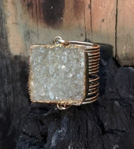 XL Raw Druzy Square Wire Wrap Rings