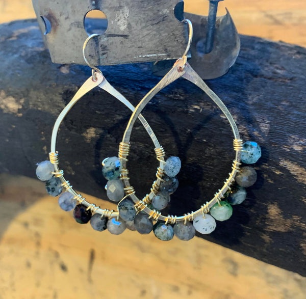 XL Zoisite Hammered Gold Filled Earrings