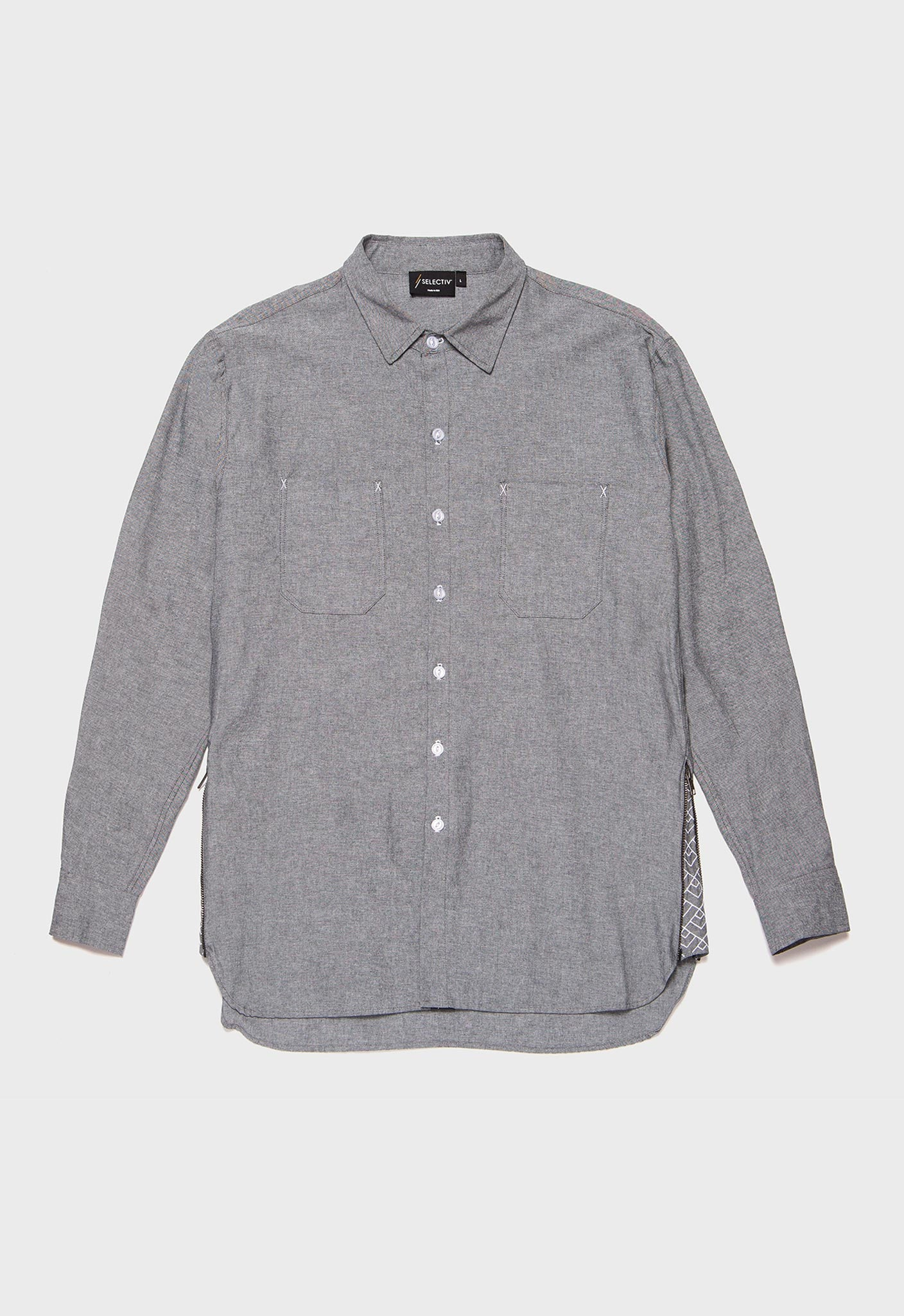 A-frame Chambray Shirt (Graphite Grey) - SELECTIV