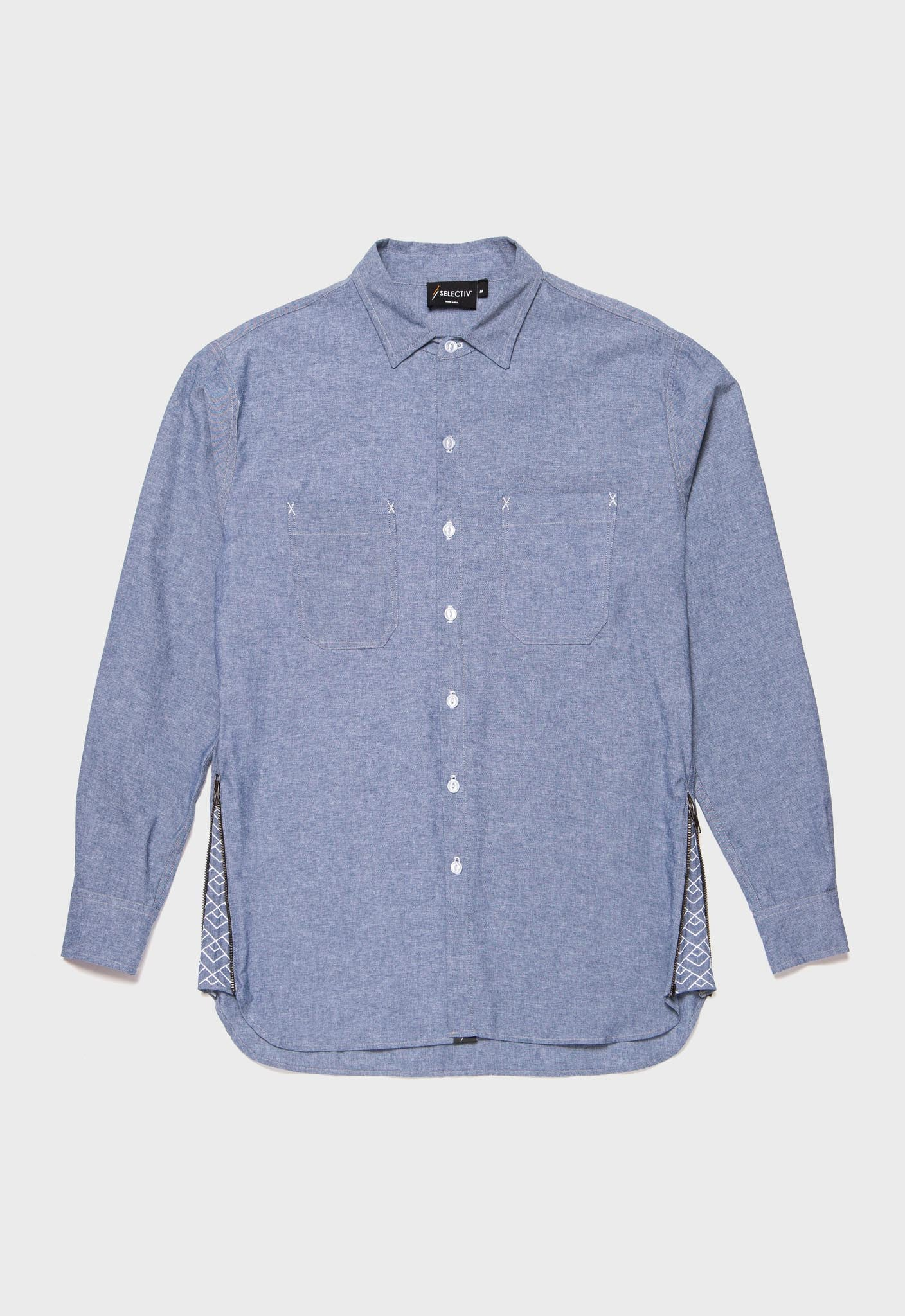 A-frame Chambray Shirt (Ocean Blue)