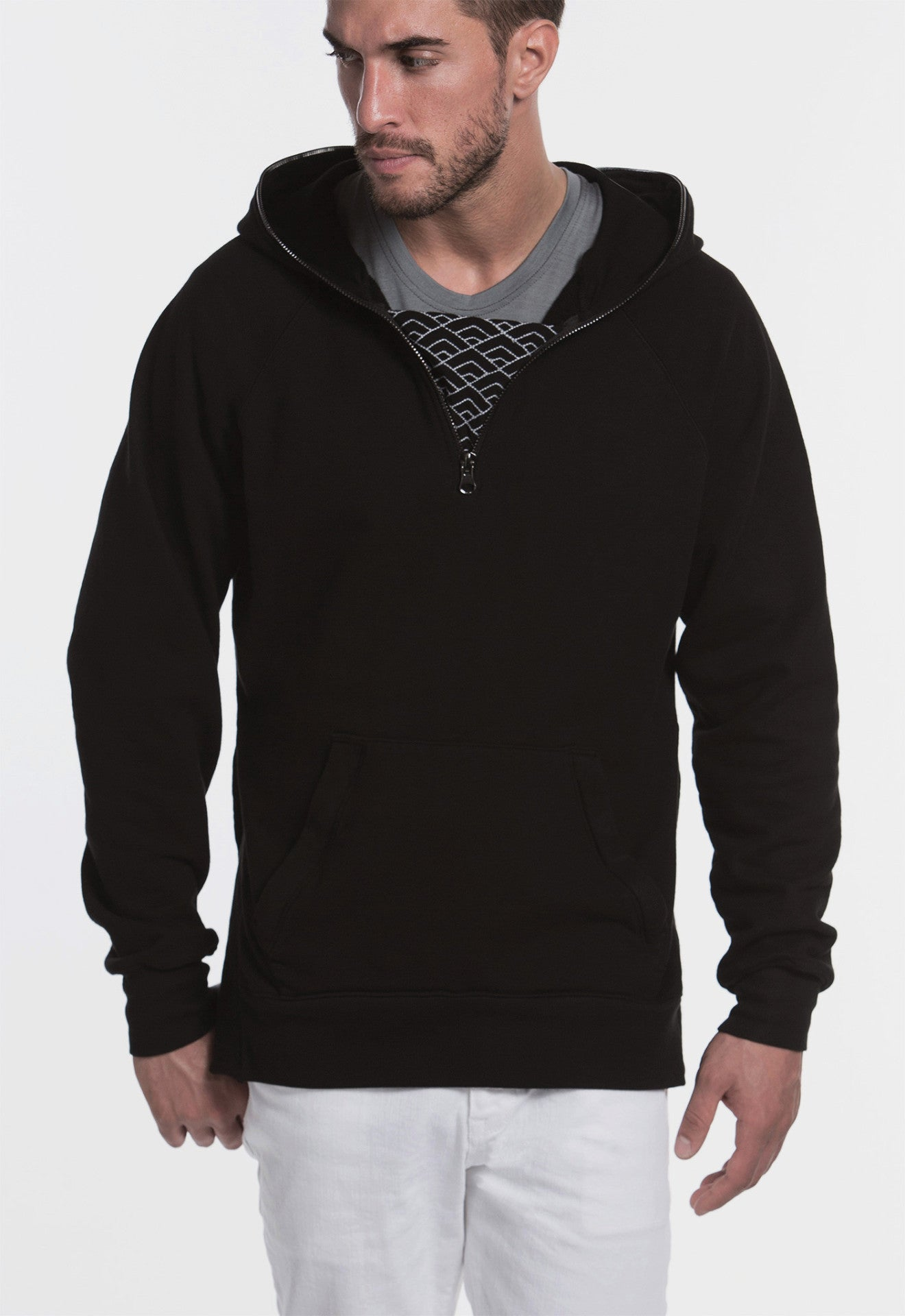 Diamond Waves Half-Zip Hoodie (Onyx) - SELECTIV
