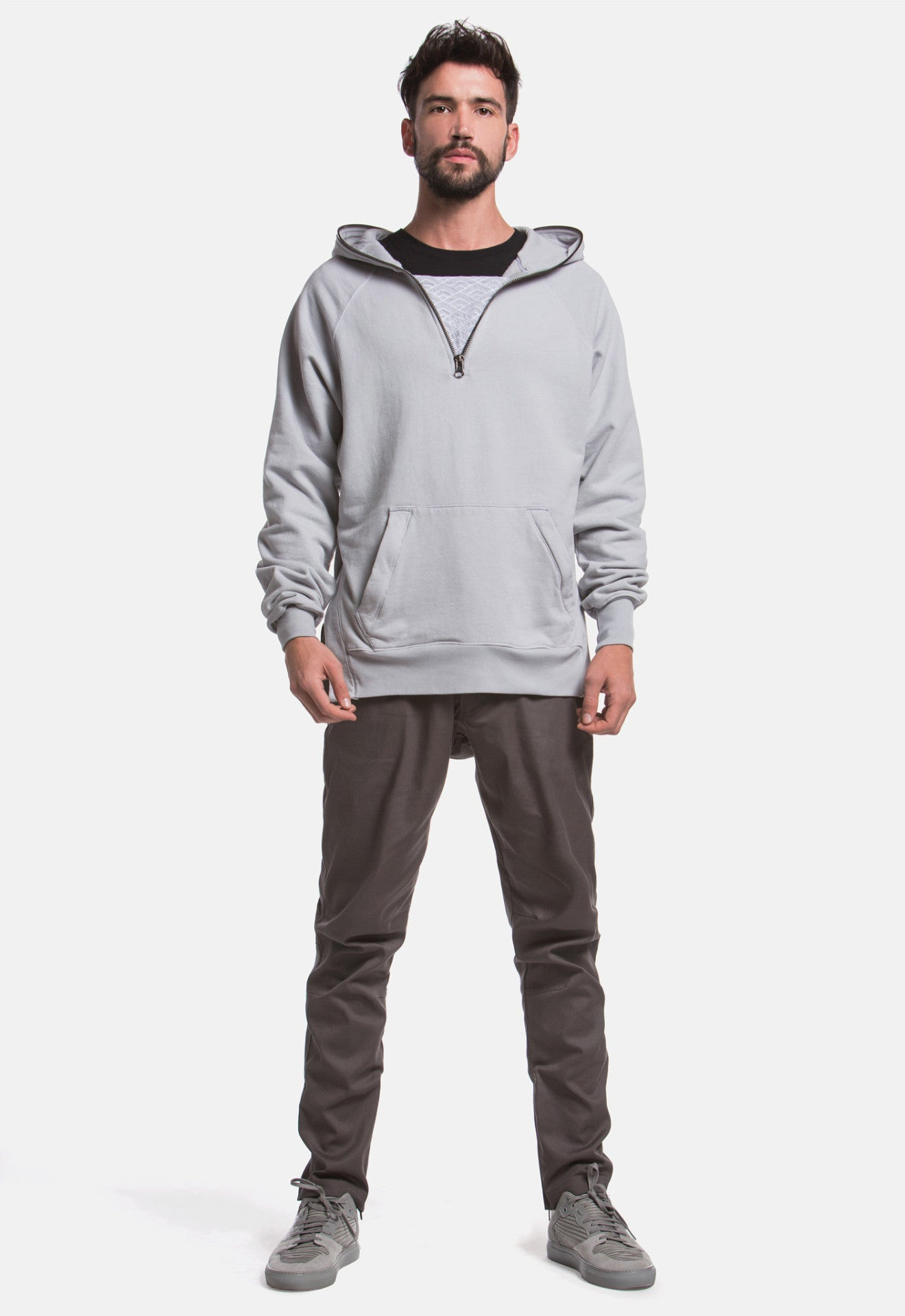 Diamond Waves Half-Zip Hoodie (Sky Grey)