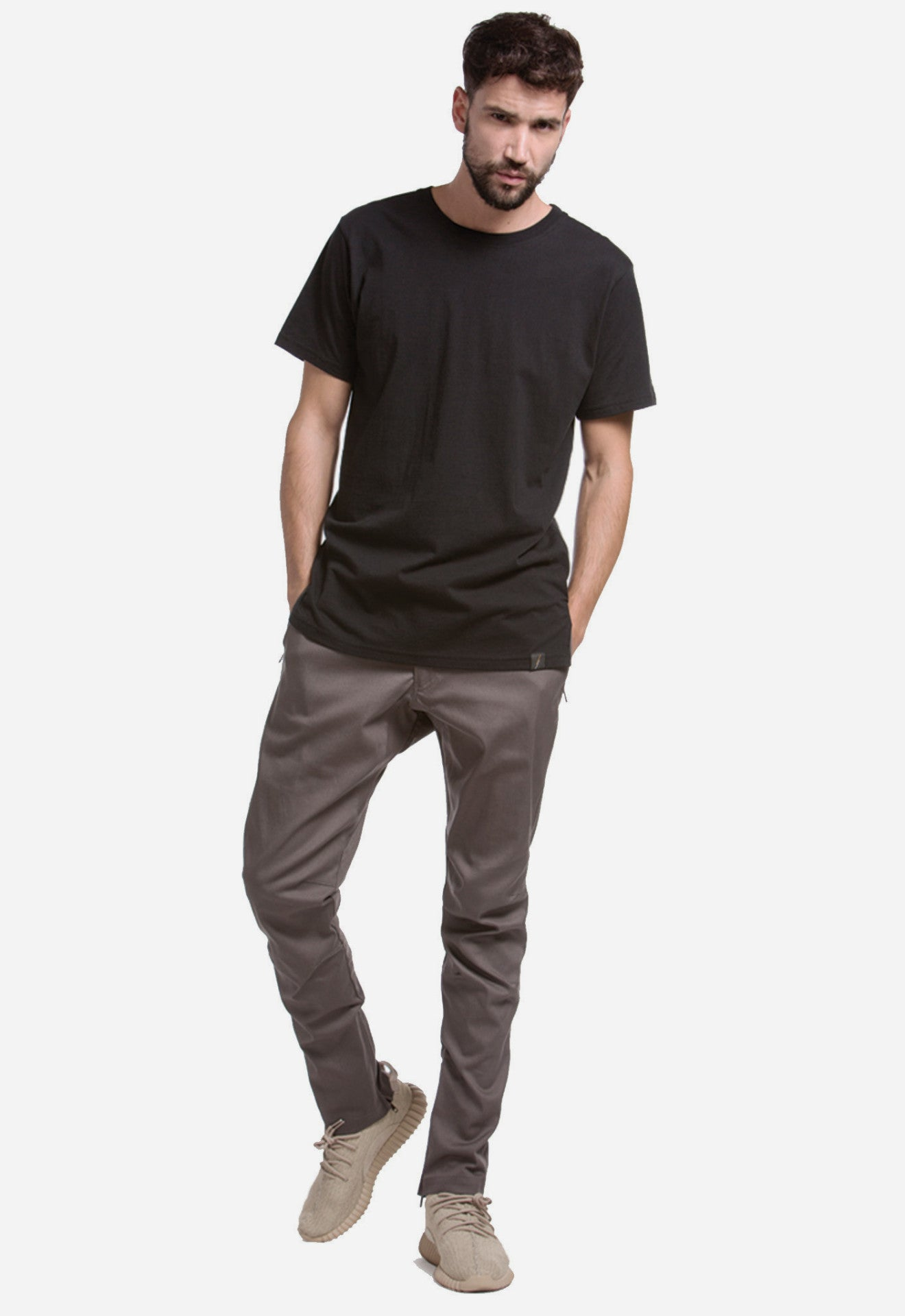 Darted Twill Ankle Zip Pants (Slate Grey)