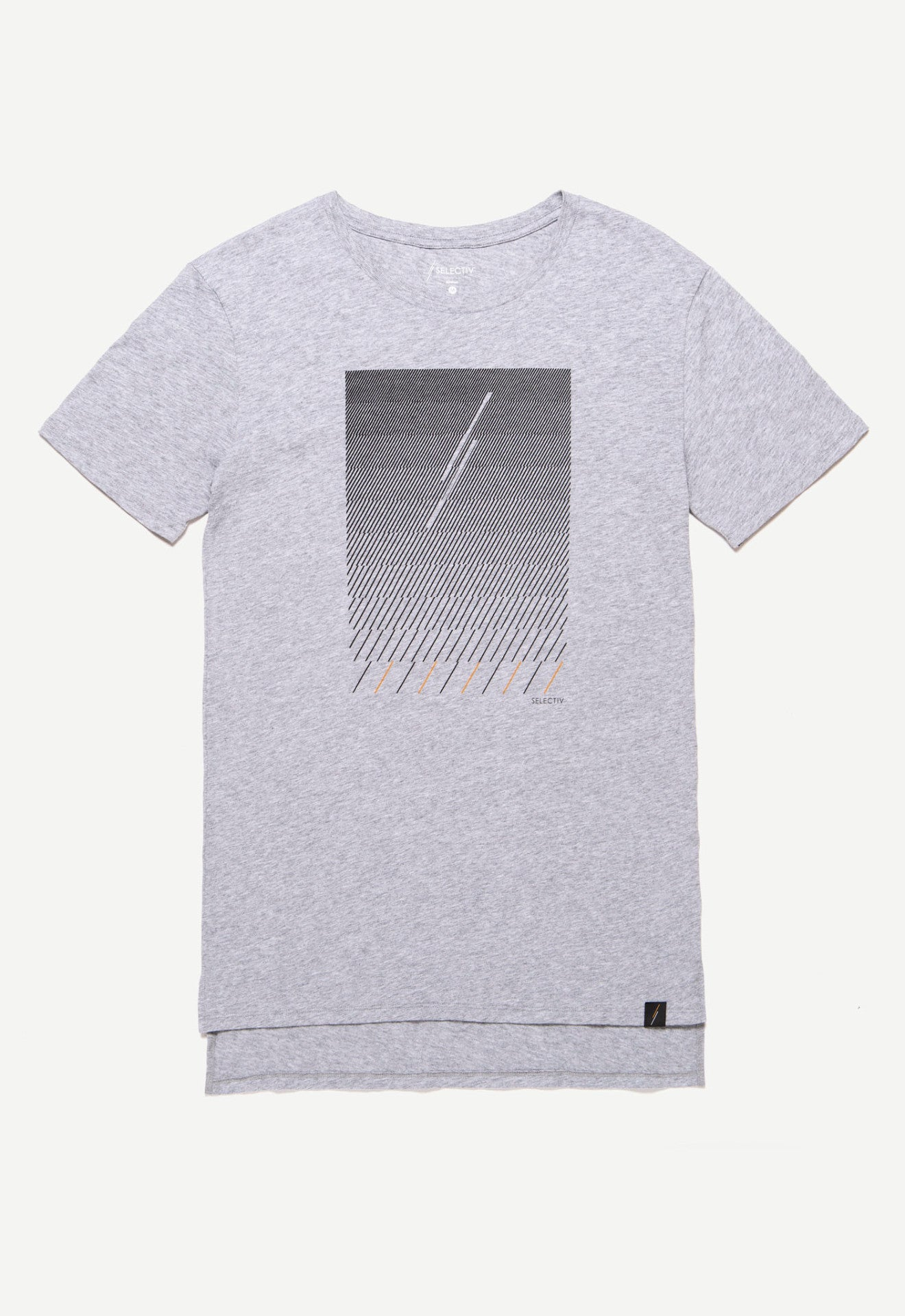 Graphic Elongated Tee - Dashed Rain (Concrete Grey)