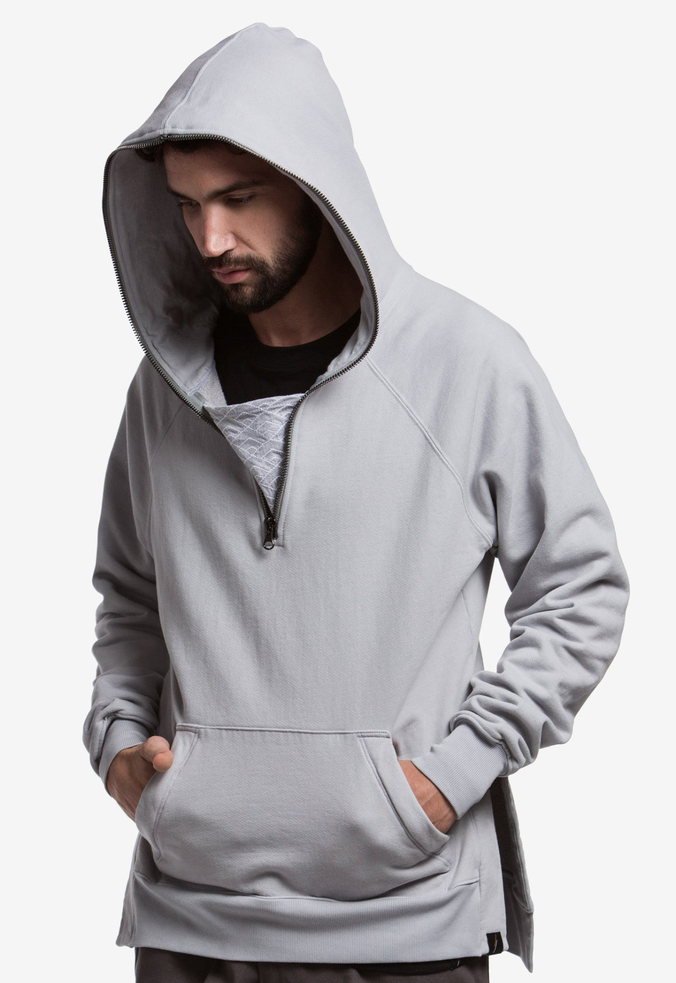 Diamond Waves Half-Zip Hoodie (Sky Grey) - SELECTIV