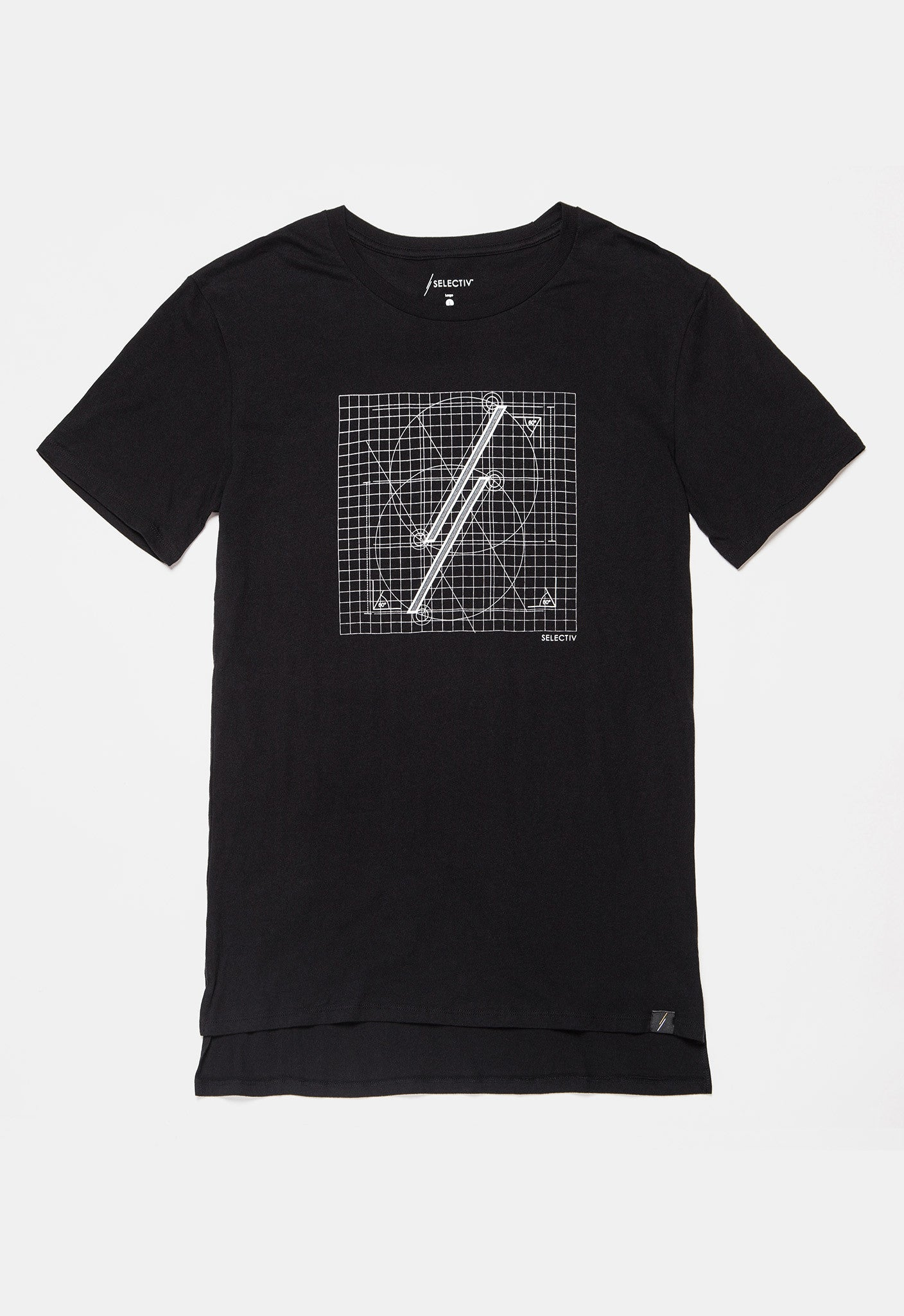 Graphic Elongated Tee - The Blueprint (Space Black)