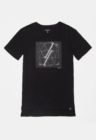 Graphic Elongated Tee - The Blueprint (Space Black) - SELECTIV