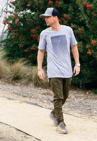 Graphic Elongated Tee - Dashed Rain (Concrete Grey) - SELECTIV
