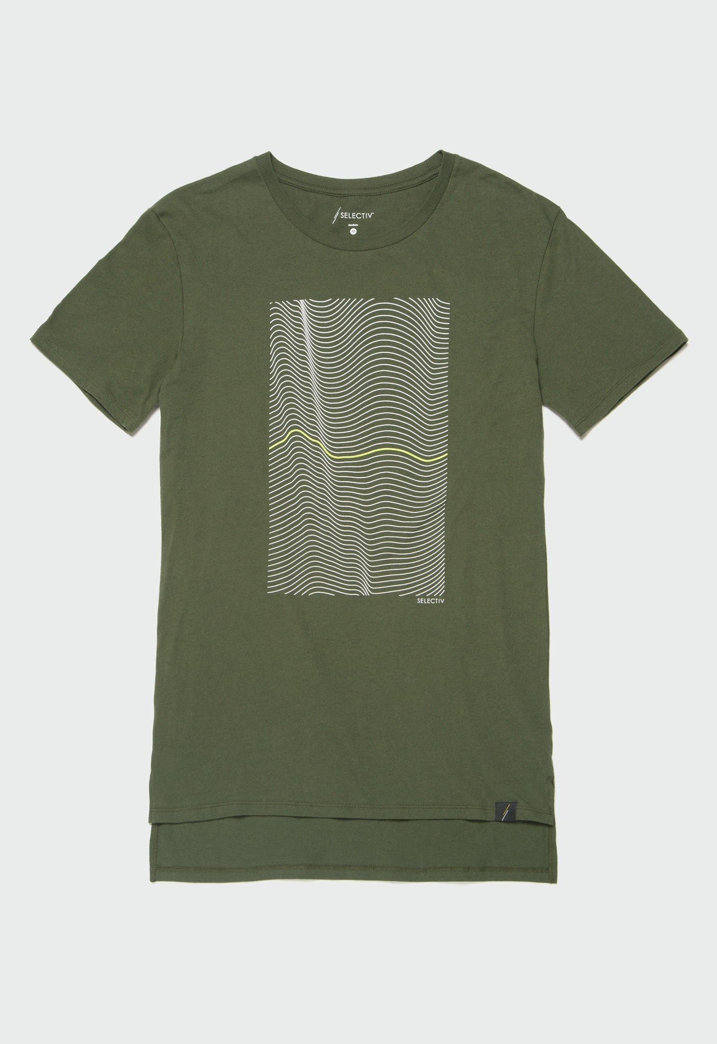 Graphic Elongated Tee - Wavy (Forest Green)