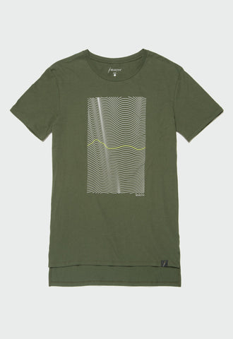 Graphic Elongated Tee - Wavy (Forest Green) - SELECTIV