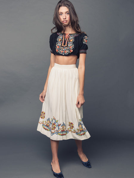60S EMBROIDERED BOHEMIAN SKIRT