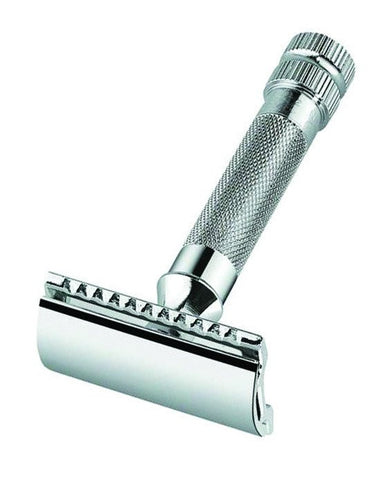 Merkur Double Edge Safety Razor, Straight Cut, Extra Thick Handle, Chrome - Dapper Guru