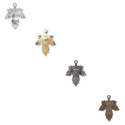 Maple Leaf 12mm 1/2 inch Drop Charms w/ Closed Loop Plated Brass Metal~Sold Individually