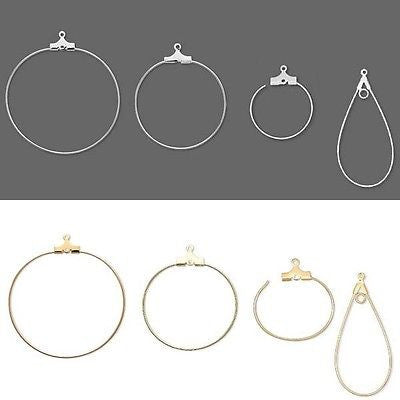 Beading Hoop Earring Finding Components with Loop Plated Brass Metal~Sold Individually