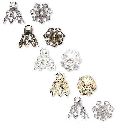 Bell Bead End Charm Caps with Loop & 7 Filigree Prong Legs Plated Brass Metal~Sold Individually