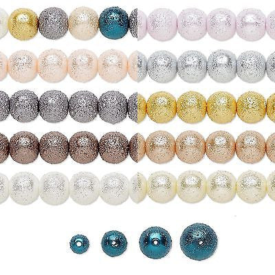 Bumpy Textured Stardust Round Glass Pearl Luster Beads Small - Big~Sold Individually