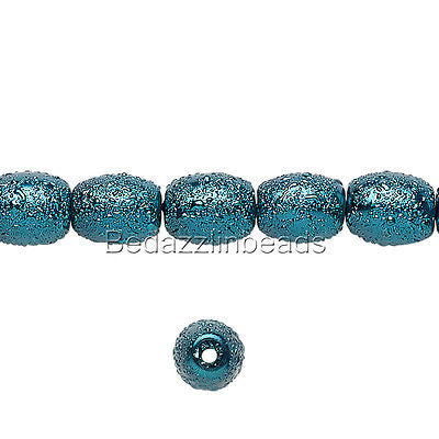 Bumpy Textured Stardust 7mm x 6mm Oval Tube Glass Pearl Luster Beads~Sold Individually