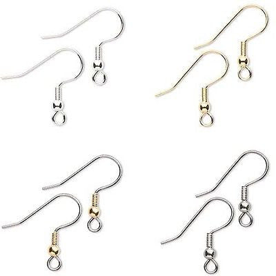 "Surgical Steel Ball & Coil 3/4"" Fishhook Earwire Earring Findings With Loop~Sold Individually"