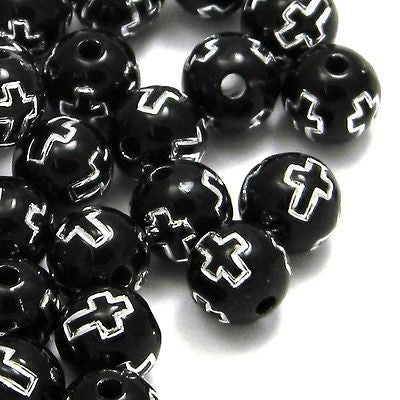 Opaque Black 8mm Round Plastic Acrylic Beads with Silver Cross Accent~Sold Individually