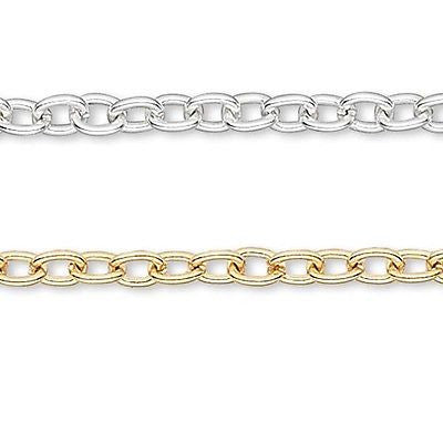 Thin 3mm Thick Closed Cable Link Chain Plated Brass Metal Sold in one Foot Increments