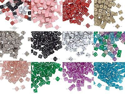 Plastic Acrylic 7mm Square Game Dice Beads with Number Dots True to Life~Sold Individually